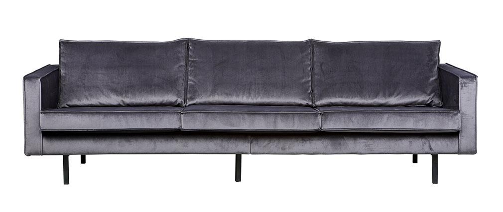Canapé vintage velours gris 4 places ASPEN