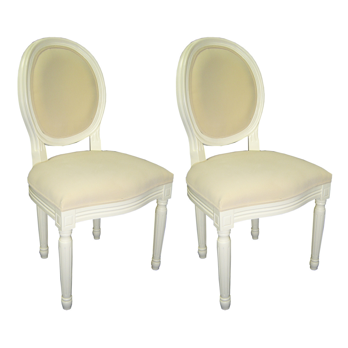 Chaise baroque salle manger blanc medaillon lot de 2 - Chaise salle a manger blanc ...