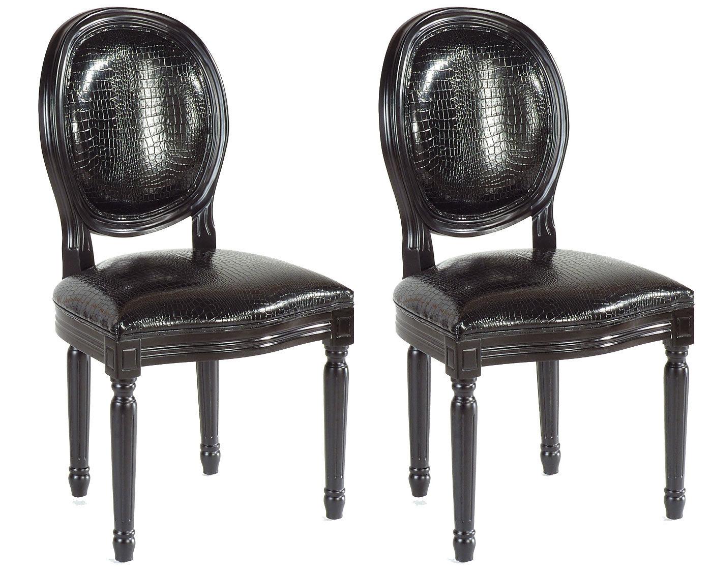 Chaise baroque salle manger noir medaillon lot de 2 for Chaise noir salle a manger