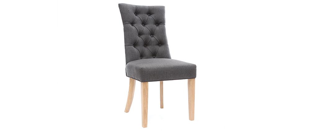 Chaise classique en tissu gris foncé et bois clair VOLTAIRE
