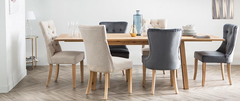 Chaise classique tissu gris foncé pied bois clair VOLTAIRE