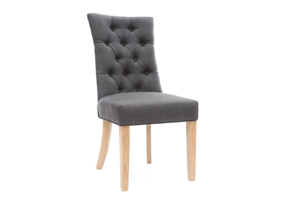 Chaise tissu gris bois classique pied foncé VOLTAIRE clair L3jScqAR54