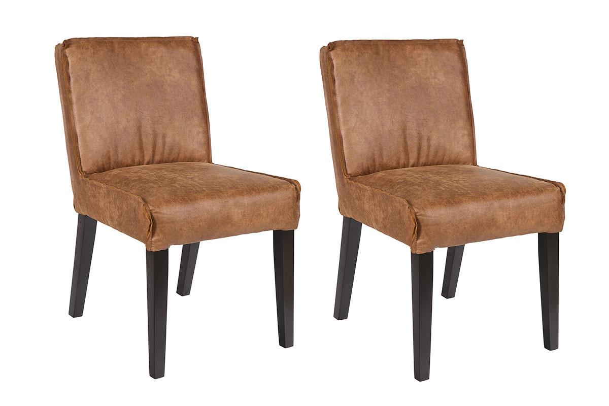 chaise cuir vintage lot de 2 aspen miliboo. Black Bedroom Furniture Sets. Home Design Ideas
