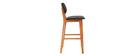 Chaise de bar design bois de noyer et noir 65 cm NORDECO