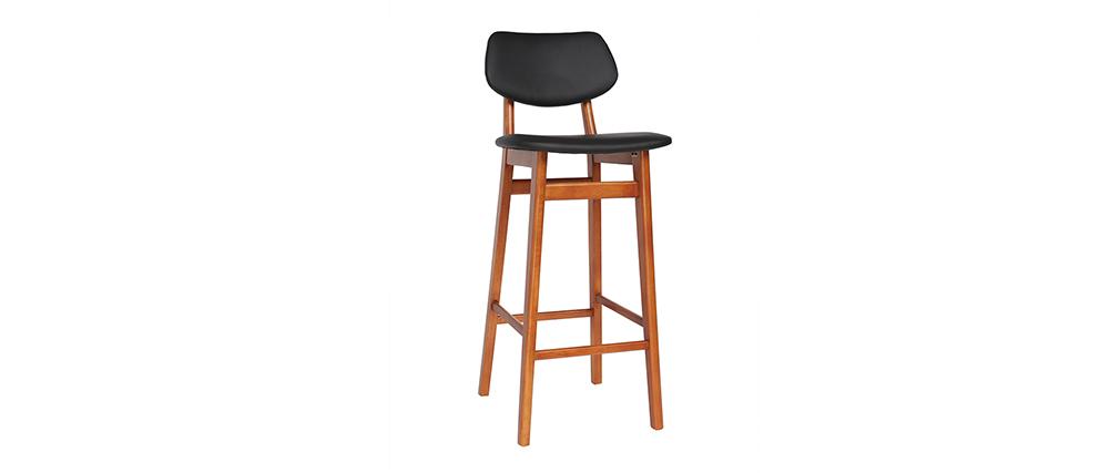 Chaise de bar design bois de noyer et noir 75 cm NORDECO