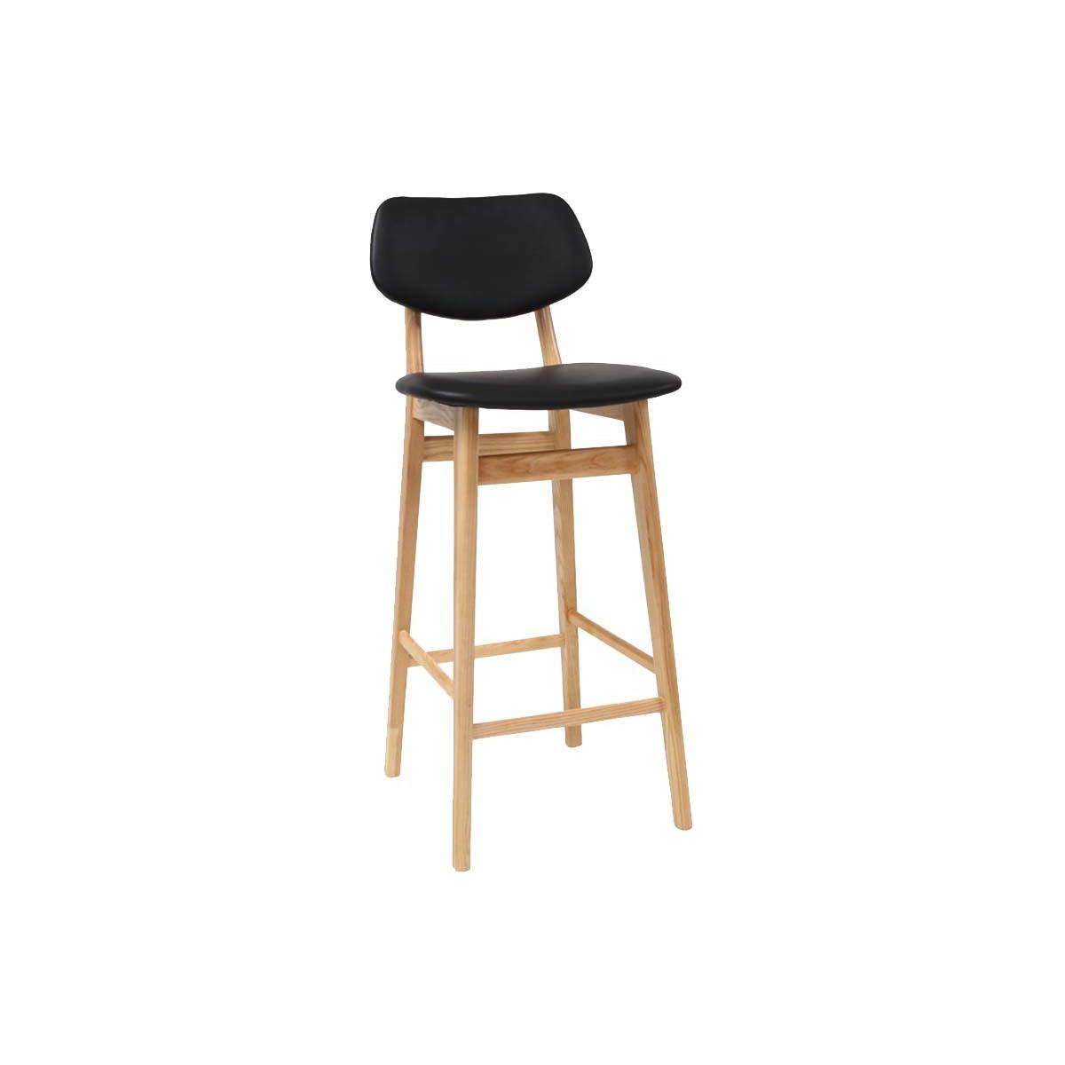 Image of Chaise de bar design noire et bois naturel 75 cm NORDECO