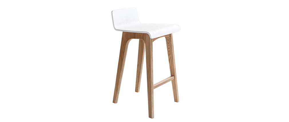 Chaise de bar en bois 65 cm scandinave baltik miliboo for Chaise bar blanc bois