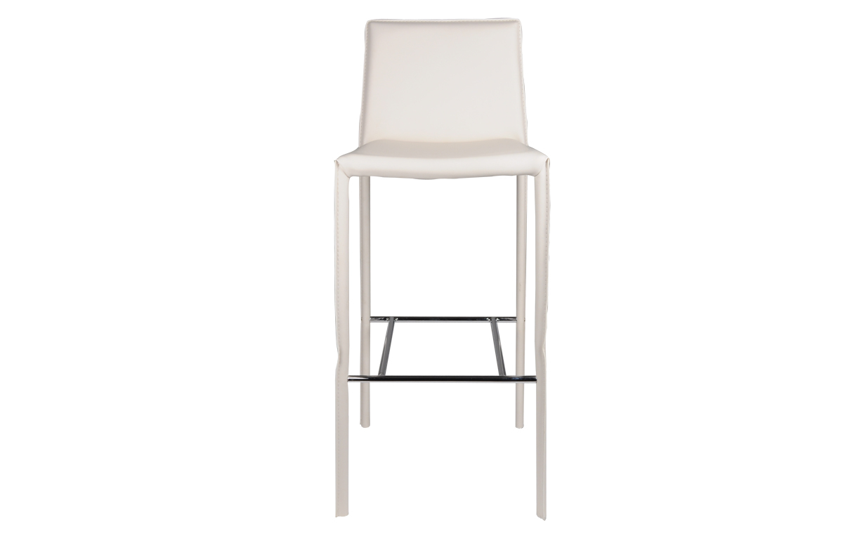 chaise de bar haute blanc genna lot de 2 miliboo. Black Bedroom Furniture Sets. Home Design Ideas