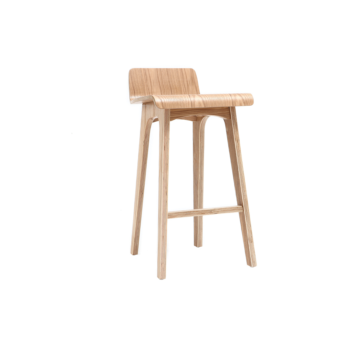 Chaise de bar scandinave 65 cm bois naturel BALTIK