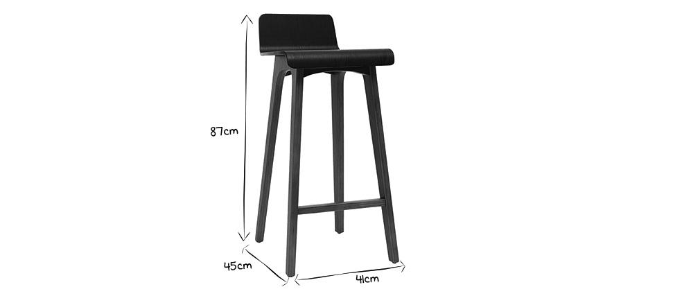 Chaise de bar scandinave 75 cm bois et blanc BALTIK