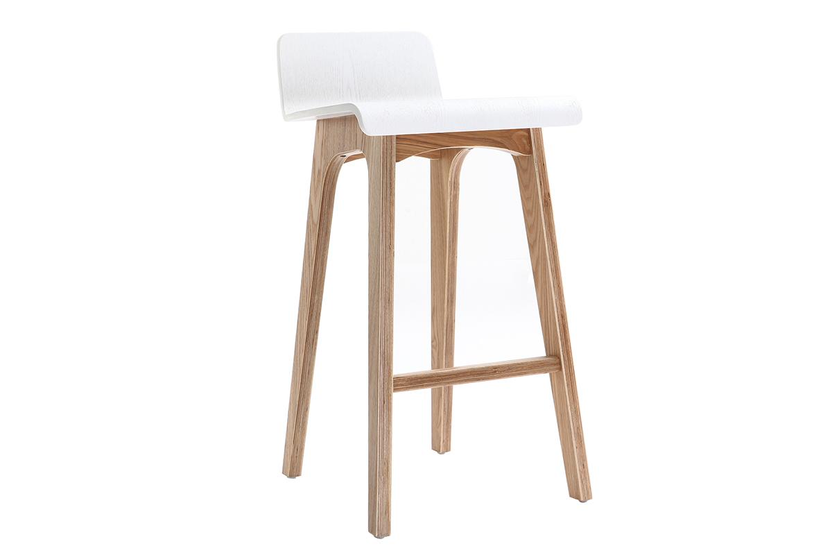 Chaise de bar scandinave bois et blanc H7 cm BALTIK - Miliboo