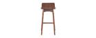 Chaise de bar scandinave bois foncé H65 cm BALTIK