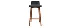 Chaise de bar scandinave noir et bois foncé H65 cm BALTIK