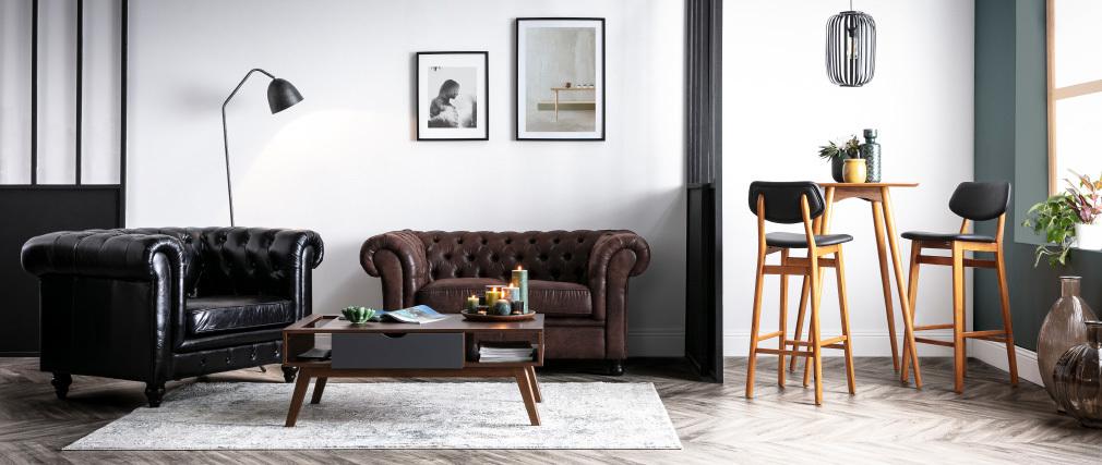Chaise de bar vintage noyer et noir 75 cm NORDECO