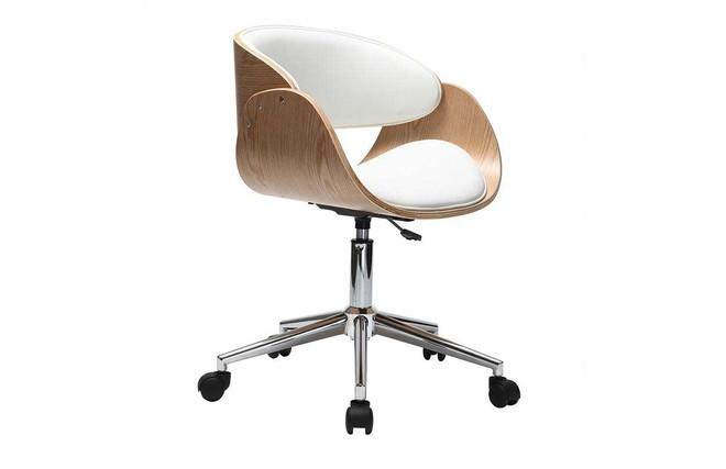 Chaise de bureau à roulettes blanc et bois clair bent miliboo