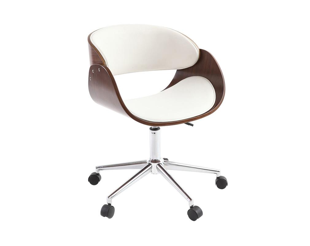 Chaise de bureau à roulettes blanc et noyer BENT Miliboo