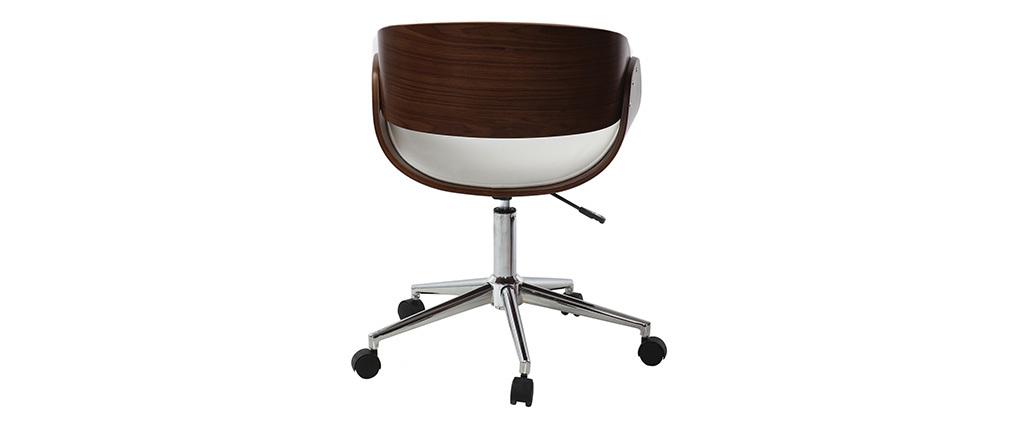 Chaise de bureau à roulettes blanc et noyer BENT