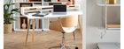 Chaise de bureau à roulettes noir et bois clair BENT
