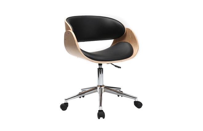 Chaise de bureau à roulettes noir et bois clair bent miliboo