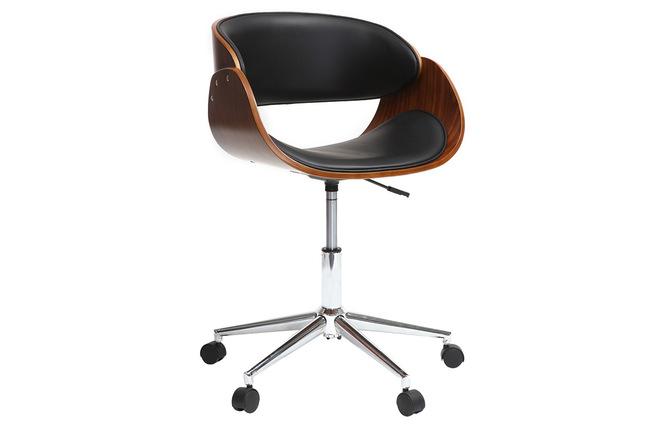 Chaise de bureau à roulettes noir et noyer bent miliboo