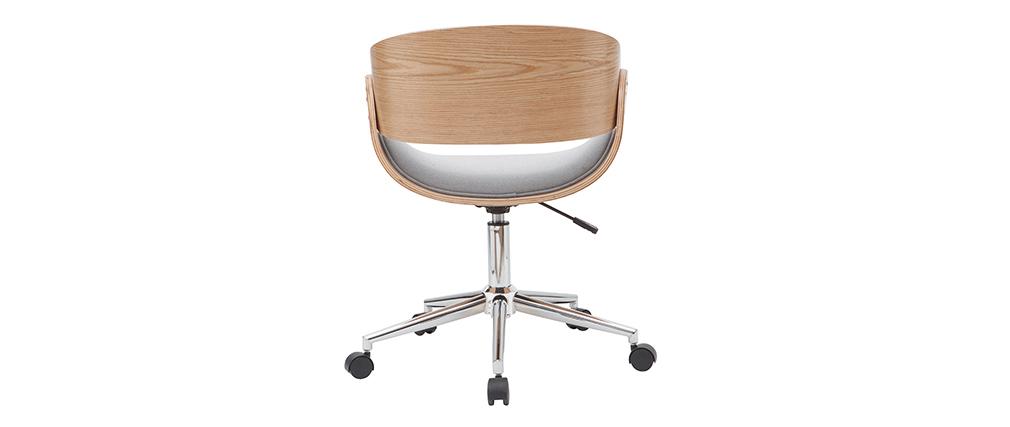 Chaise de bureau à roulettes tissu gris et bois clair BENT