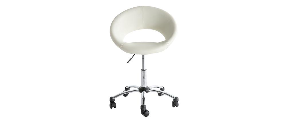 Chaise de bureau design blanc à roulettes PINTO