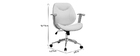 Chaise de bureau design blanc et bois clair YORKE