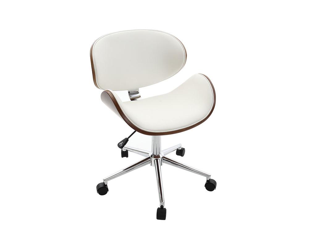 sélection premium 9e9a0 79d49 Chaise de bureau design blanc et bois foncé WALNUT - Miliboo