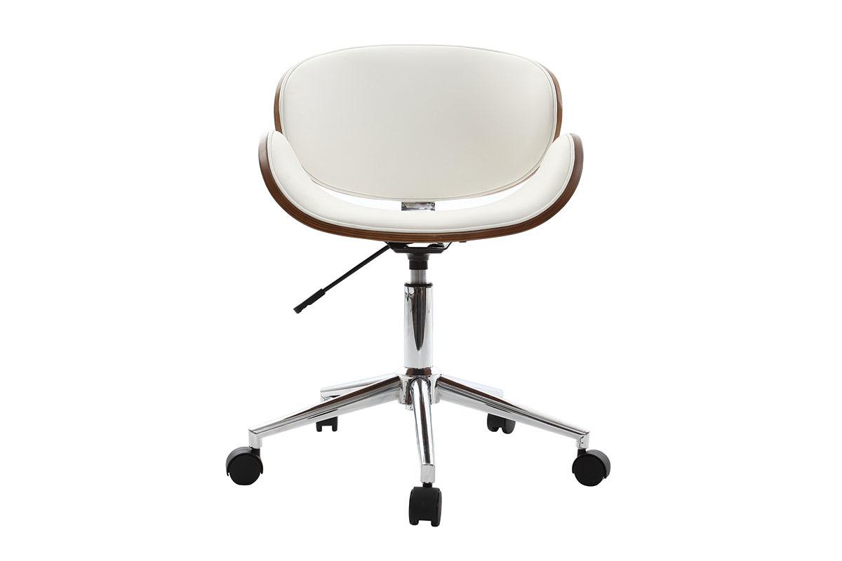 Chaise de bureau design blanc et bois walnut miliboo for Pied de bureau design