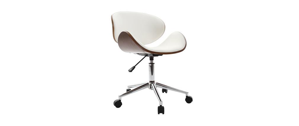 chaise de bureau design blanc et bois walnut miliboo. Black Bedroom Furniture Sets. Home Design Ideas