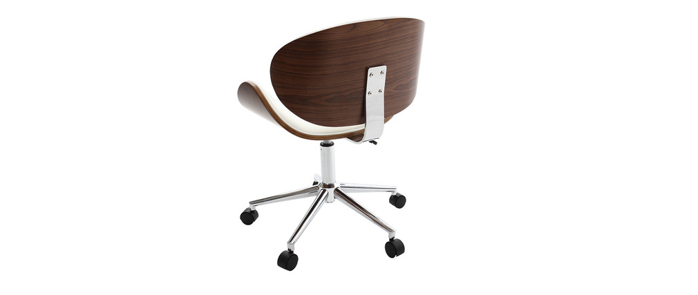 Chaise de bureau design blanc et bois walnut miliboo for Bureau blanc et bois