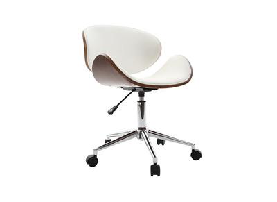 Chaise de bureau design blanc et bois WALNUT
