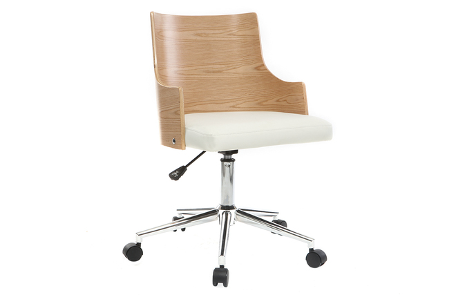 Chaise de bureau design blanche et bois clair mayol miliboo
