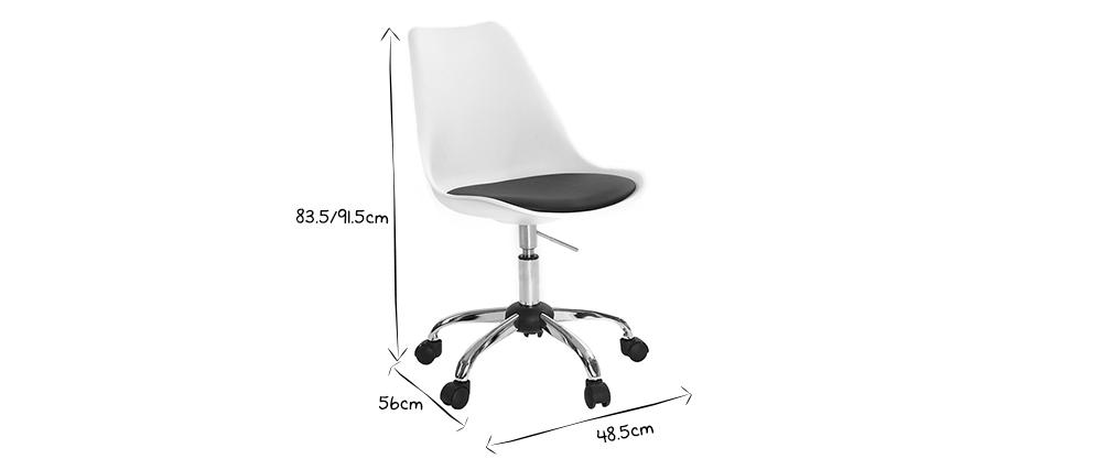 Chaise de bureau design blanche et noire NEW STEEVY