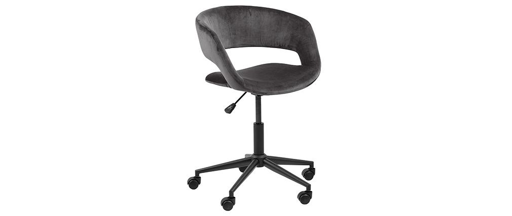 Chaise de bureau design en velours gris anthracite DRIFT