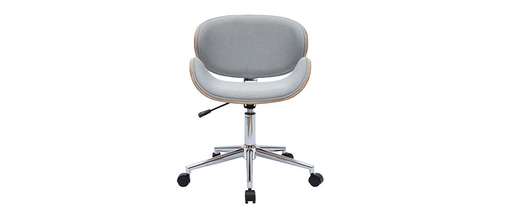 Chaise de bureau design gris et bois clair WALNUT