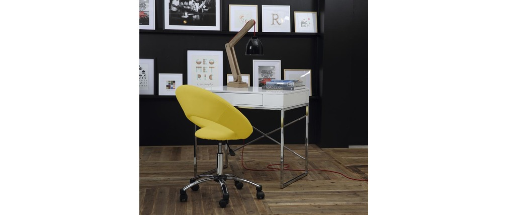 chaise de bureau design jaune roulettes pinto miliboo. Black Bedroom Furniture Sets. Home Design Ideas