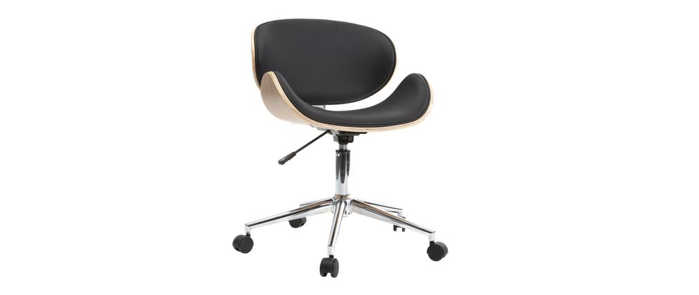 Chaise de bureau design noir et bois clair WALNUT