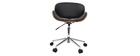 Chaise de bureau design noir et bois foncé WALNUT