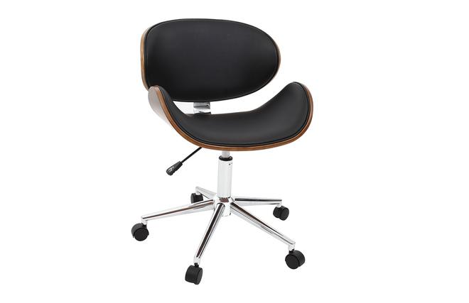 Chaise de bureau design noir et bois foncé walnut miliboo