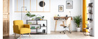 Chaise de bureau design noir et bois foncé YORKE
