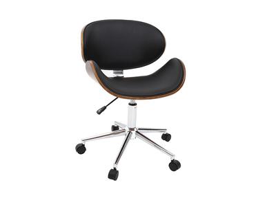 Chaise de bureau design noir et bois WALNUT