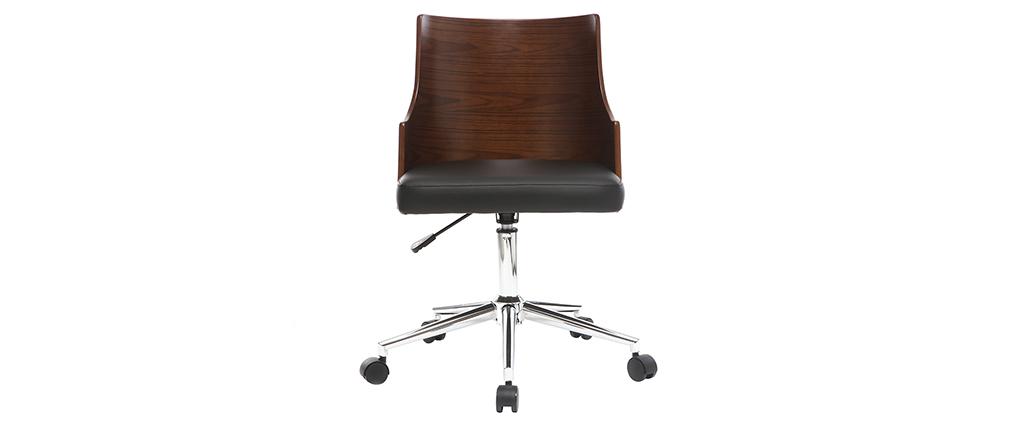 Chaise de bureau design noire et noyer MAYOL
