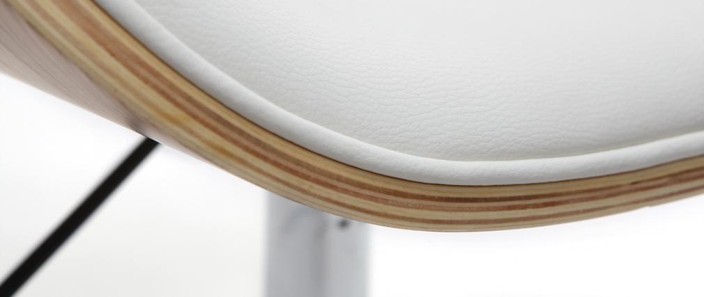Bureau Design Bois Clair : Chaise de bureau design PU blanc et bois clair WALNUT – Miliboo