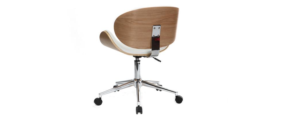 chaise de bureau design pu blanc et bois clair walnut. Black Bedroom Furniture Sets. Home Design Ideas