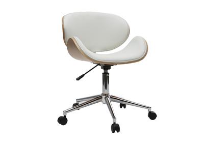 Chaise de bureau design PU blanc et bois clair WALNUT