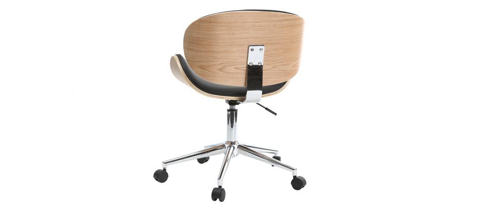 Bureau Design Bois Clair : Chaise de bureau design PU noir et bois clair WALNUT – Miliboo