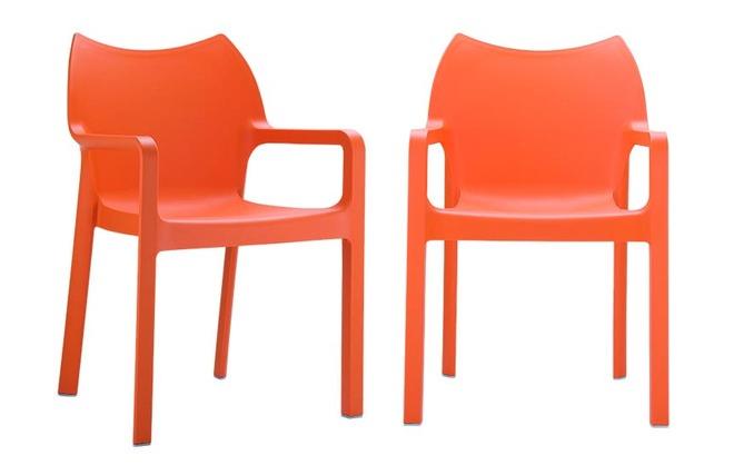 chaise de jardin design orange lot de 2 altess miliboo. Black Bedroom Furniture Sets. Home Design Ideas