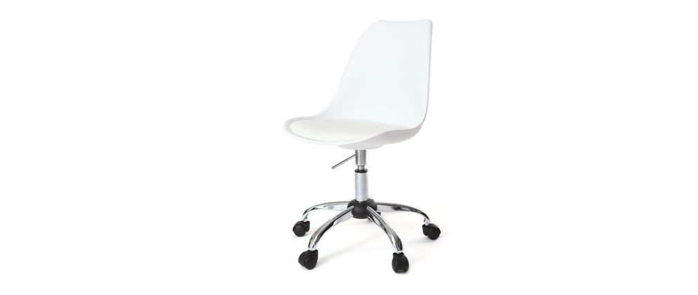 Chaise design à roulettes blanche NEW STEEVY