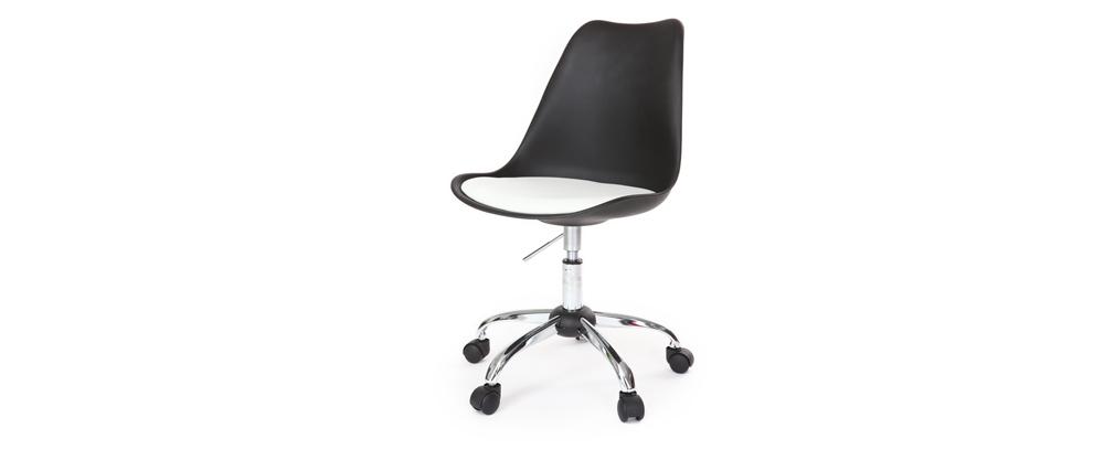 Chaise design à roulettes noire avec assise blanche NEW STEEVY